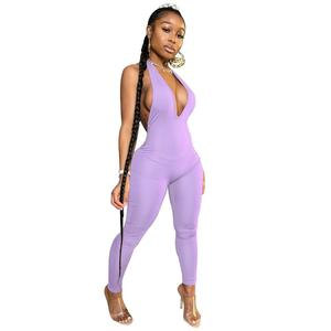 Sexy Deep V Neck Backless Body Jumpsuit Women Summer 2020 Casual Fitness Sleeveless Leggings Bodycon Rompers Womens Jumpsuit