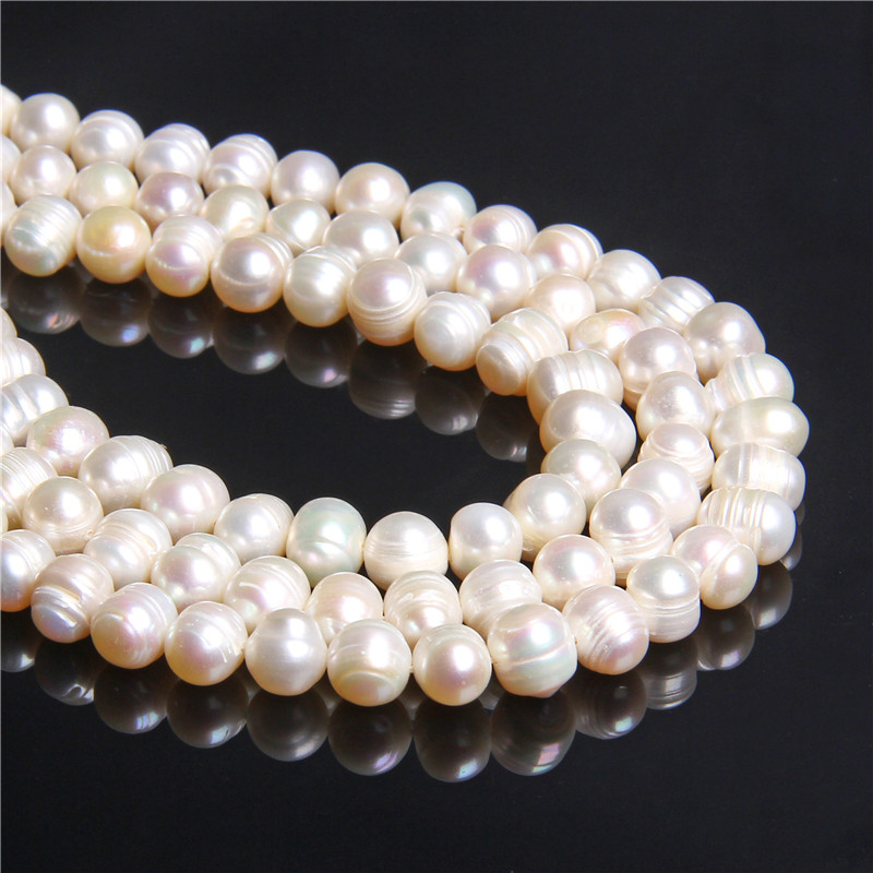 100% Natural white round round 9-10mm pearl beads real loose Cultured freshwater pearls beads women for jewelry making necklace(China)