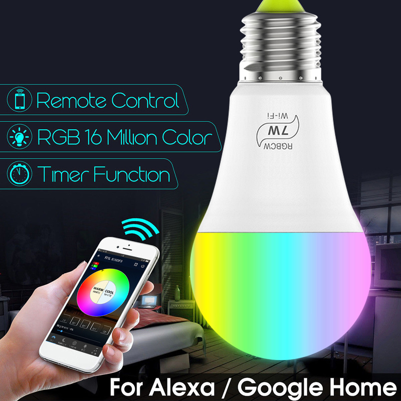 7W RGB <font><b>Led</b></font> Magic Light Smart <font><b>Bulb</b></font> Home Lighting E27 Base Lamp Work with Alexa Google Home E12 <font><b>E17</b></font> E30 G24 GU24 To E27 Adapter image
