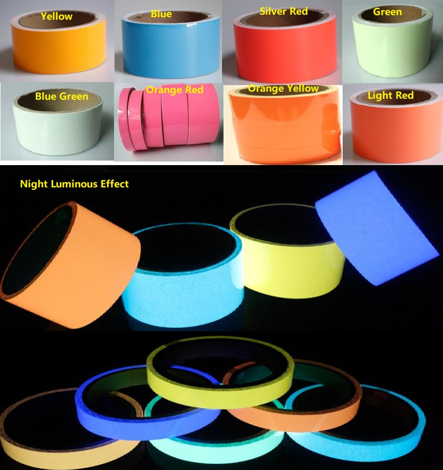 2CM*10M PET Luminous Self-adhesive Tape Fluorescent Light Storage Warning Safety Tape Night Glowing Wall Sticker