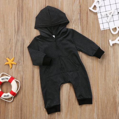 Warm, Zippered, Cotton Long Sleeved Hooded Jumpsuit  4