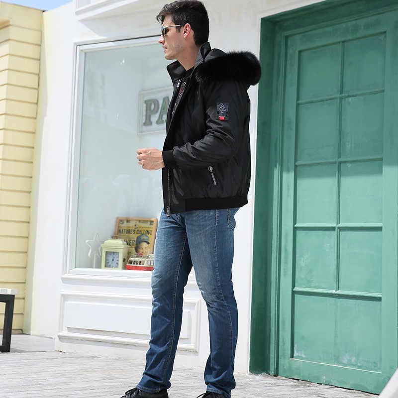 Tcyeek/Модная зимняя куртка для мужчин; роскошная одежда с капюшоном из лисьего меха; уличная одежда 2019 года; плотное теплое пальто с подкладкой из кроличьего меха; Hiver; NZPK003