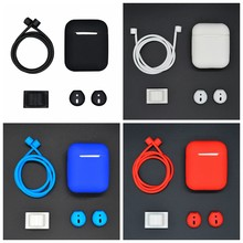 4 in 1 Silicone Case Set For Airpods 1 2 Protection Bags Cover Watch Band Holder Antilost Strap For Apple AirPods 1 2 Case Coque(China)