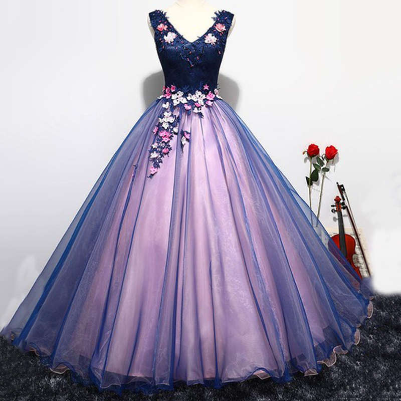 Party Prom Formal Dress V-neck Sleeveless Classic Flower Appliques Noble Ball Gown Sweet Quinceanera Dresses