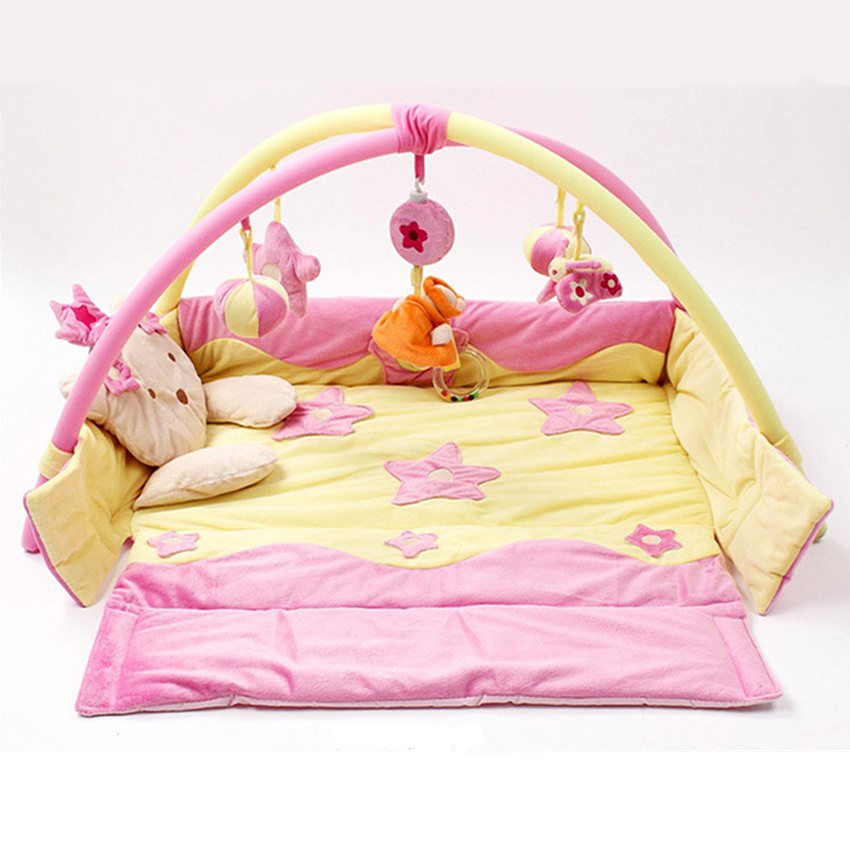 Baby Play Mat Baby Activity Gym Mat With Detachable Support Baby Bed Bell Musical Toys Sensory Training Baby Mattress