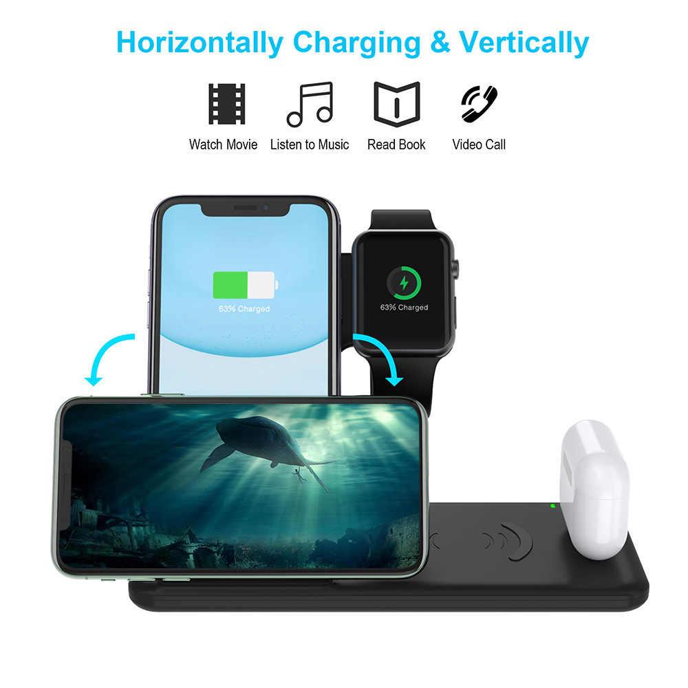 4 ב 1 15W אלחוטי מטען Stand עבור iPhone X XS XR 8 11 אפל שעון 5 4 3 2 Airpods פרו Samsung Qi מהיר טעינת Dock תחנה