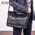 AETOO  сумка на одно плечо  мужская кожаная трендовая модная горизонтальная сумка-почтальон Baotou из воловьей кожи  повседневная мужская косая с...