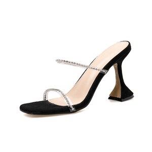 Image 2 - Kcenid zapatillas con diamantes de imitación para mujer, zapatos femeninos de tacón alto, de fiesta, para verano, 2020