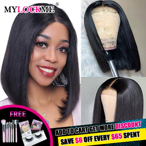 Straight Short Human Hair Wigs Straight Bob Lace Front Wigs MYLOCKME HAIR Peruvian Lace Front Human Hair Wigs For Black Women