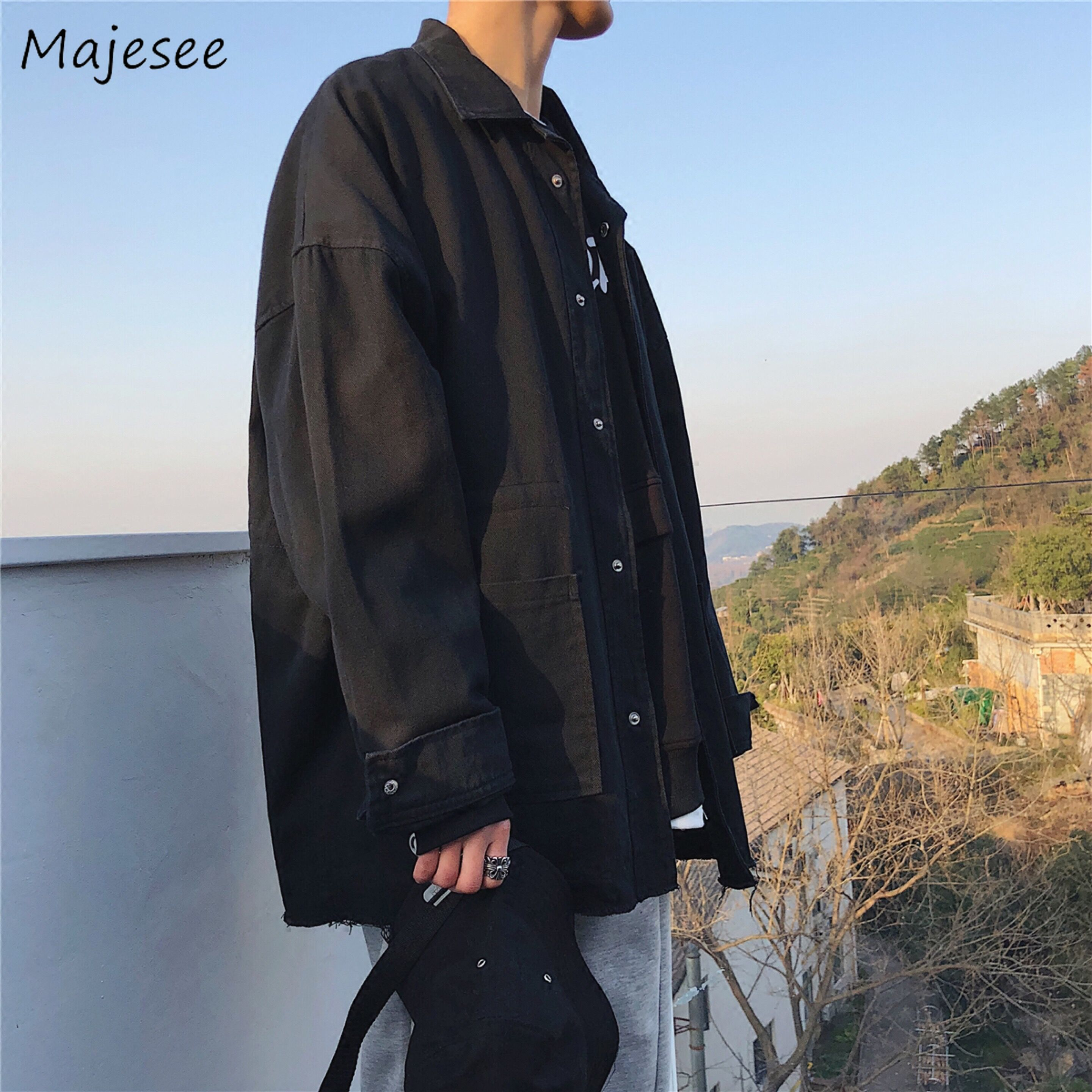 Big Size Men Jacket Denim Single Breasted Oversize Vintage Clothes Japanese Streetwear Mens Jackets And Coats Males Black Coat