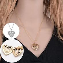 Colar coração forma stainess aço coração colar pingente corrente jóias festa beleza meninas foto medalhão jóias