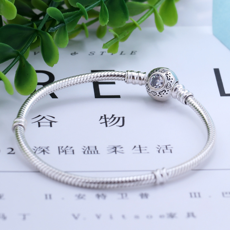 2019 New Original 925 Sterling Silver Bead Charm Princess Jasmine Aladdin Snake Chain Basic <font><b>Bracelet</b></font> Fit <font><b>Pan</b></font> Women DIY Jewelry image