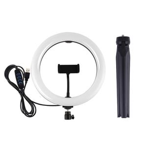 Image 3 - PULUZ Desktop Tripod Mount+10.2 inch 26cm USB LED Curved Diffuse Ring Light Vlogging Selfie Photography Video Lights Phone Clamp