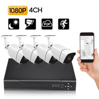 8CH DVR Kit Security Camera System Full 1080P Video DVR Recorder with 4 * 1080P Indoor Outdoor Weatherproof CCTV Cameras
