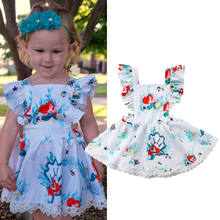 Toddler Kids Baby Girls Dress Mermaid Floral Print Pageant Party Gown Dress Sleeveless Sundress(China)