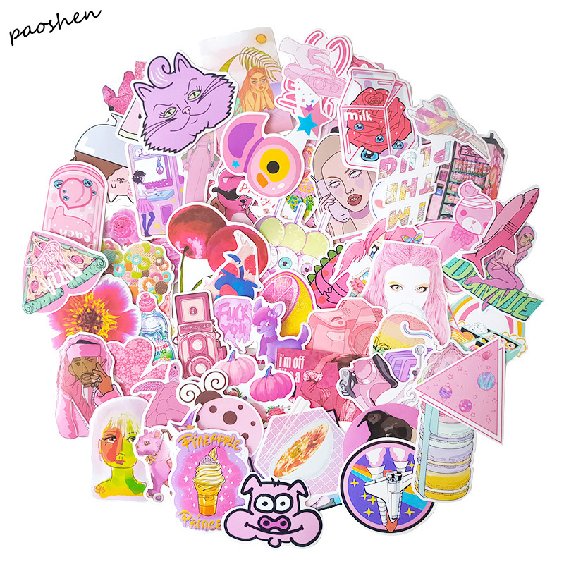 64PCS PVC Waterproof Kawaii Pink Vsco Girl Funny Cute Sticker Luggage Sticker Moto Car And Suitcase Cool Fashion Stickers