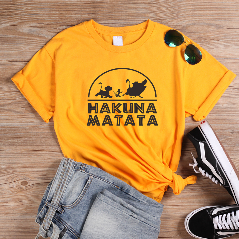 ONSEME Hakuna Matata Letter Print <font><b>T</b></font> <font><b>Shirts</b></font> Cute <font><b>Lion</b></font> <font><b>King</b></font> Simba Pattern Print <font><b>T</b></font> <font><b>Shirt</b></font> Female Casual Loose Cotton Tees Tops image