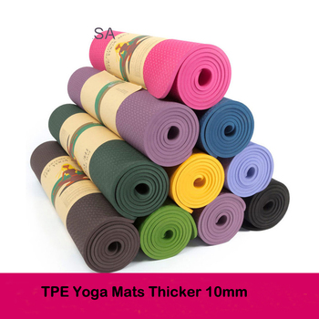 10MM Extra Thick Exercise Yoga Mat Natural Rubber TPE Non-slip acupressure Healthy Gym for Fitness