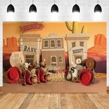 Baocicco 5x4ft Cowboy Backdrop Photography Background Shabby Cowboy Town Saloon Pub Wheel Buckets for Photo Studio Props