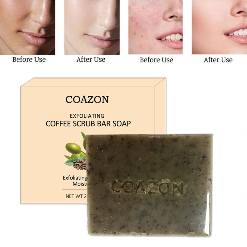 75g Handmade Coffee Scrub Soap Whitening Anti-freckle Soap Face Care Wash Basis Soap Deep Cleaning