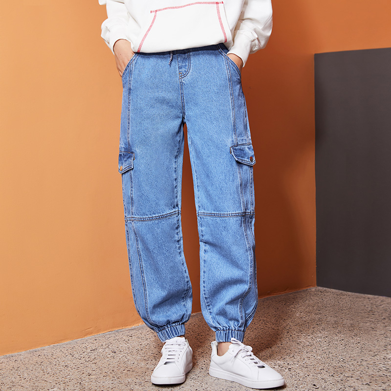 LEIJIJEANS New  Arrival Elastic Waist Plus Size Loose High Waist Tooling Denim Capri Pants Sports Wind High Street Girl Jeans