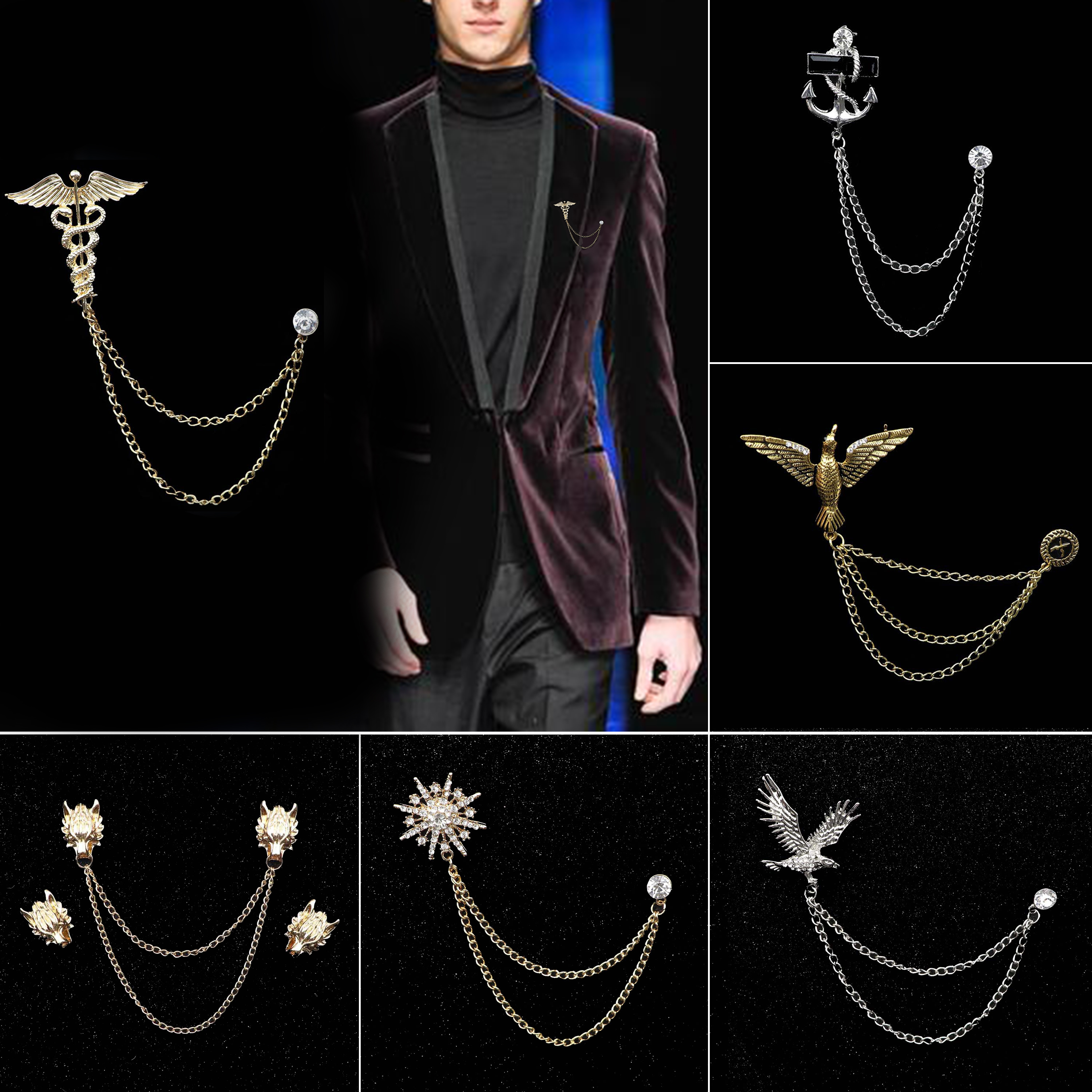 Mens Chain Brooches Delicate Vintage Elk Dragon Head Eagle Wings Badge Wedding Dress Party Suit Shirt Jean Collar Accessories