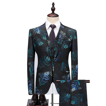 New Design Mens Stylish Wedding Groom Floral Pattern Suits Groom Tuxedo Costume  (blazer+ pants + vest) three-piece suit set