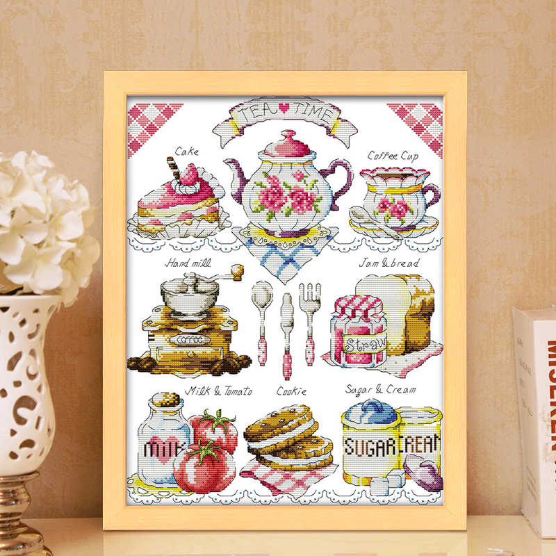 Cake Afternoon Thee Kruissteek Set 14CT 11CT Gedrukt Canvas Borduren Naaien Kit Dmc Count Chinese Kruissteek Kit Diy ambachten
