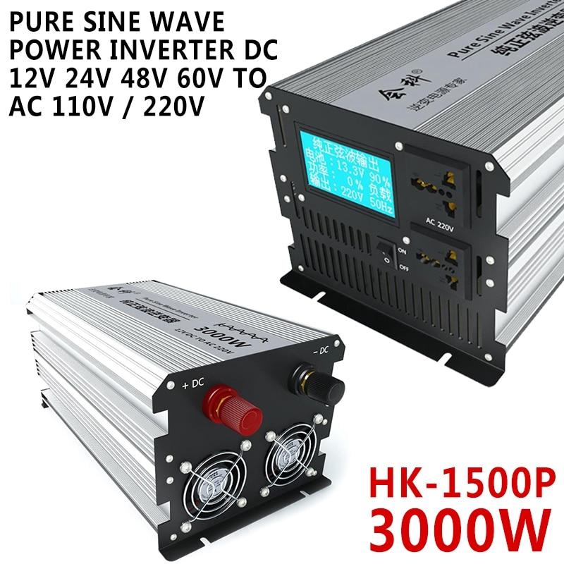 Elektrische Ausrüstung HK-1500P 3000W Reine Sinus Welle Power Inverter DC 12V 24V 48V 60V 72V zu AC 110V / 220V Wechselrichter Konverter