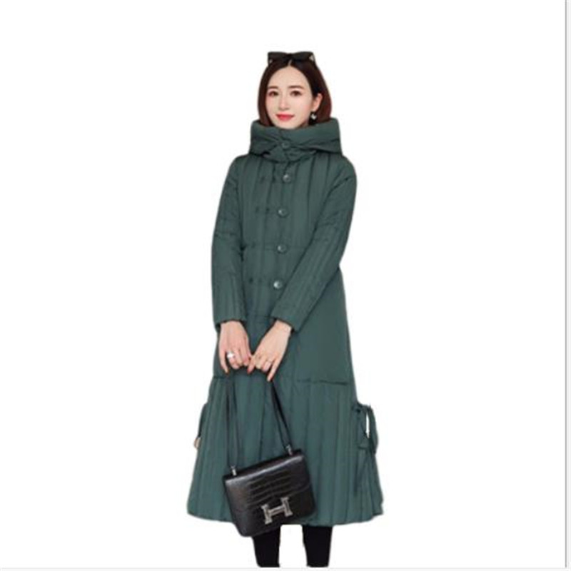 British style Winter Women's Parkas Hooded Coat X Long Down Cotton Jacket  Female Button Thick 2019 Fashion Snow Wear Mujer M111 Parkas  - AliExpress