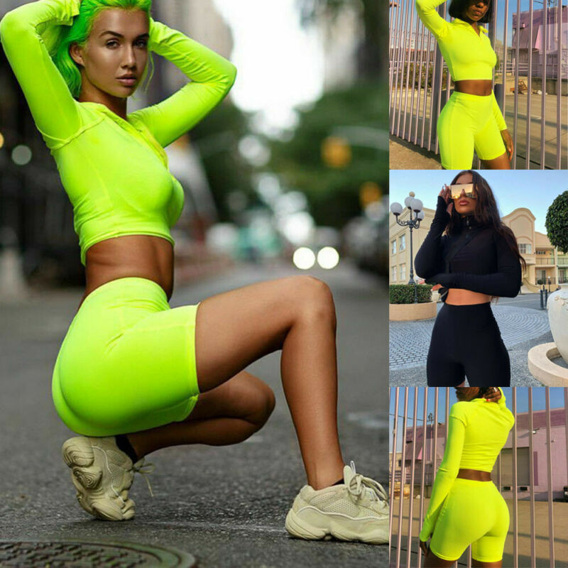 running - Hot Sell Well 2Pcs Women Tracksuits Long Sleeves Crop Sweatshirt Top Jogging Short Pants Sports Suit Outfit Set Casual New