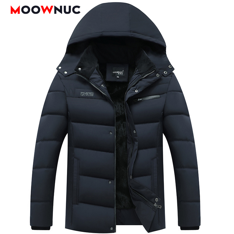 Winter Fashion Windbreaker Overcoat Jackets Thick Windproof Parkas Coats Men's Parkas Hombre Slim Plus Size Brand MOOWNUC Casual