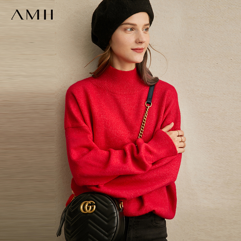 Amii Minimalist Turtleneck Sweater Winter Women Casual Solid Warm Loose Long Sleeve Elegant Female Pullover Sweater 11970725