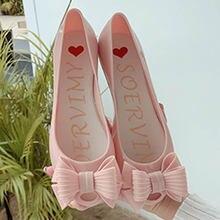 Туфли желе женские с бантом бабочкой непромокаемые балетки открытым