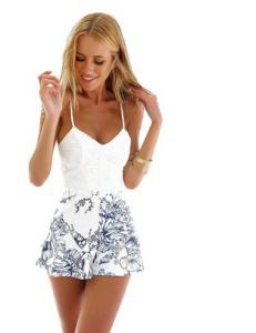 Fashion Womens Ladies Stylish Printing Summer Holiday Sexy Strappy Sleeveless Casual Short Rompers Jumpsuits Playsuit Beach Wear