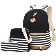 Canvas Women's Backpack for Teenage Girls and Boys Striped Casual Daypack Female Rucksack Mochila Black School Backpack 3 pcs