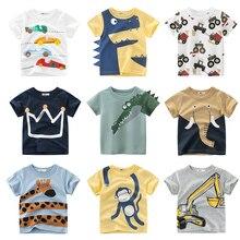 T Shirt Cartoon Animals Baby Kids Boys Girls Children Cotton Short Sleeves Summer Clothing Lion Monkey Print Tee Red Car Toddler