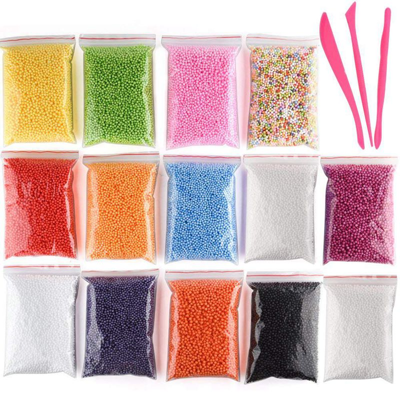 Micro-Polystyrene Styrofoam Beads Small Foam Balls Slime Beads Set With 3 Slime Tools Fit For Slime Making Art DIY Craft, (Conta