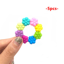 5Pcs Flower Shape Silicone Beads DIY Necklace Pacifier Teething Beads Multi-Colors Safe Bab