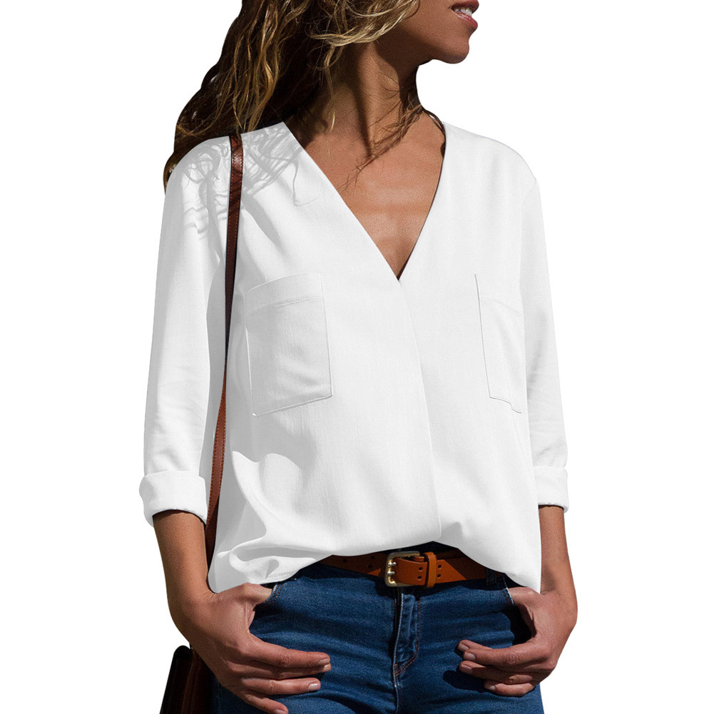 Fashion Solid Color Casual Women's Clothing New V-neck Long-sleeved Top Pocket Decoration Commute OL Sleeve Oversize Shirt