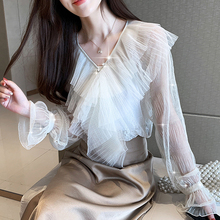 Blouses Shirts 2019 Fashion Long Sleeve Cold Shoulder Tops Casual Three-dimensional Ruffle Pleated Sexy white Blusa camisas 90i7 yellow pleated design plain cold shoulder long sleeves blouses