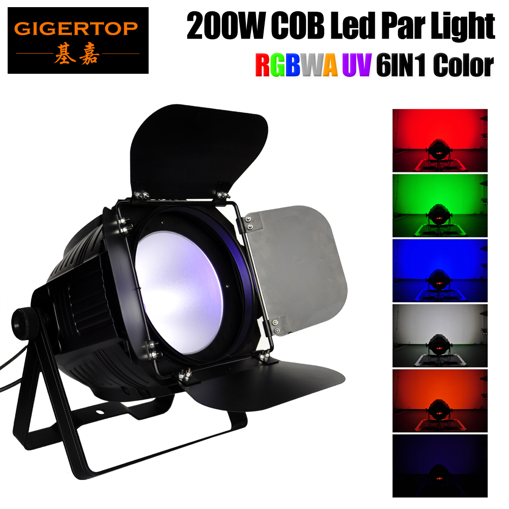 Freeshipping 200W RGBWA UV 6IN1 Color Led COB Par Light Professional Stage Lighting DMX512/Sound/Auto Control Barndoor Cover