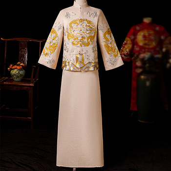 Beige Groom Vintage Loose Cheongsam Traditional Chinese Wedding Gown Satin Qipao Embroidery Dragon Costume Vestido Oriental Mens
