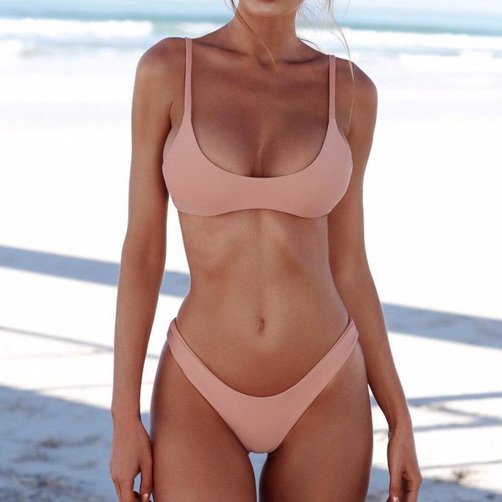 Sexy Bikini Women Swimsuit Bikini Set Push Up Swimwear Two Piece Bathing Suit Biquini 2020 Solid Beachwear Malliot De Bain Femme