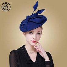 FS Elegant ขนสัตว์สีดำ Fedora หมวกสำหรับหมวกผู้หญิง Fascinators หมวกสีแดงสีฟ้า Pillbox หมวกเลดี้อย่างเป็นทางการ DERBY ชุด fedoras