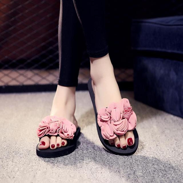 Summer Beach Flat Slippers Uncategorised Footwear Women color: Black|Pink|Red