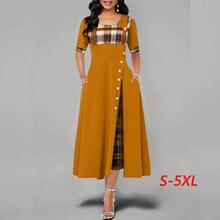 Women dress Fashion Casual Irregular Plaid Print Button Maxi