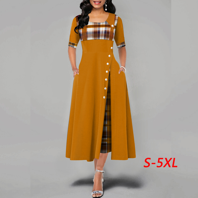 Sexy Women Dress Fashion Casual Irregular Plaid Print Button Maxi Dress New Arrival Half Sleeve Round Plus Size Party Dresses Wo
