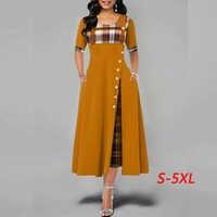 Women dress Fashion Casual Irregular Plaid Print Button Maxi Dress New Arrival Half Sleeve Round Plus Size Party Dresses women