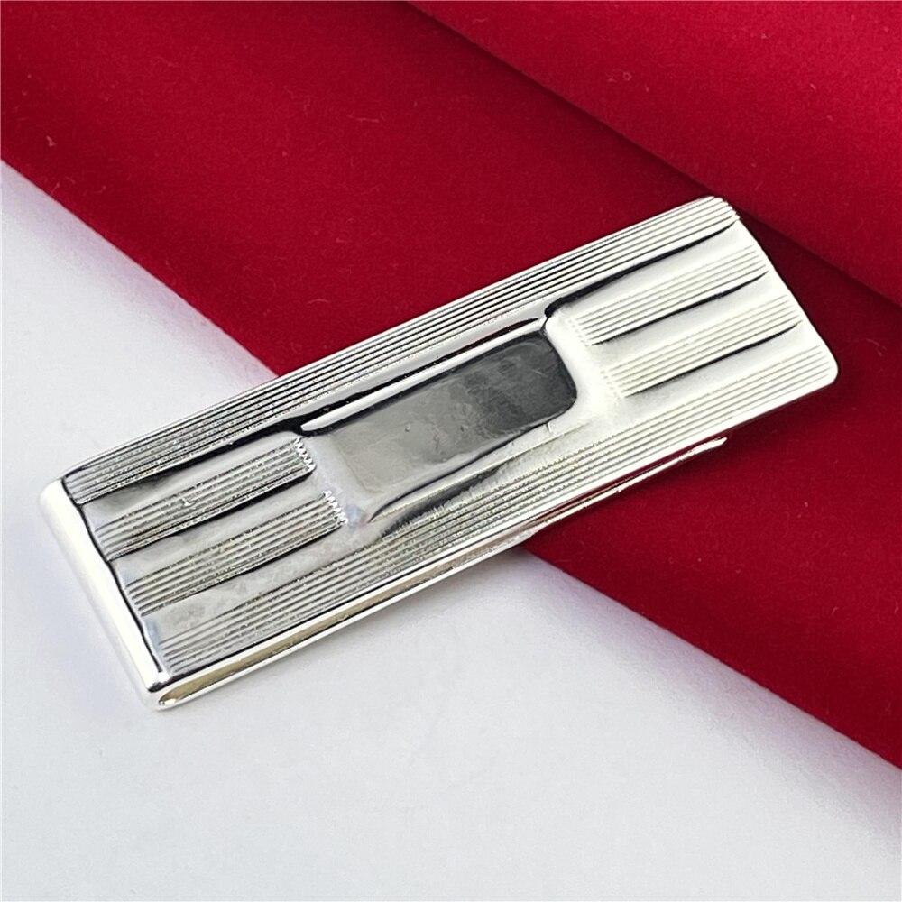 925 Silver Money Clip Striped Money Clip Fashion Jewelry Gift-1